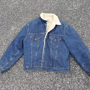 Vtg Levi's Denim Sherpa Jacket  Sz 44 Button Down Bomber 70s 80s