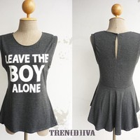 Leave the Boy Alone Asymmetric Hem Women T-Shirt (Dark Gray)