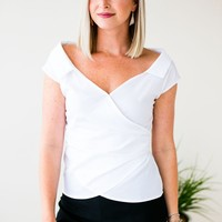 Dear to Me Off Shoulder Wrap Top in White