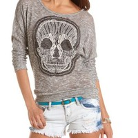Embroidered Skull Marled Sweater: Charlotte Russe