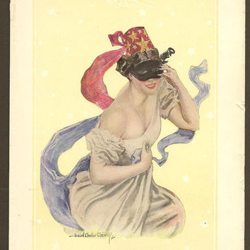 Christy Girl Belle of the Ball Lovely Masked Lady Original Color Print Litho Bookplate from 1906 Christy Girl Book Howard Chandler Christy