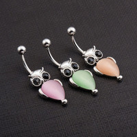 New Style Owl Shaped Body Piercing Navel Belly Ring Crystal Dangle Button Bar = 1651102596