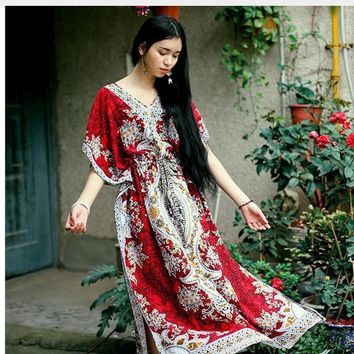 2017 Beach Dress Kaftan Ethnic Rayon Maxi Dress Women Vintage Tunic Boho Casual Printed Long Dress Vestidos De Fiesta J1513