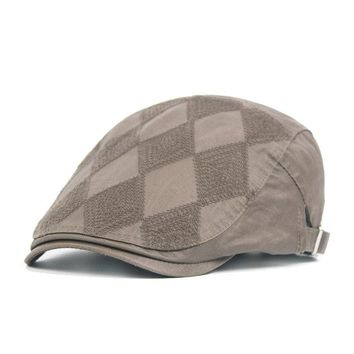 Men Cotton Grid Plaid Beret Cap Buckle Adjustable Casual Paper Boy Cabbie Gentleman Hat