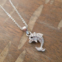 Silver Dolphin Necklace - Rhinestone Dolphin Necklace
