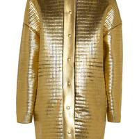 Stella McCartney Metallic leather-effect coated knitted wool coat – 65% at THE OUTNET.COM