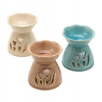Tulip-inspired Glazed Ceramic Oil Warmers
