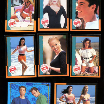 BEVERLY HILLS 90210 Vintage Topps 1991 Collector Card Lot of 8 Cards Very Good Condition Features Tori Spelling, Luke Perry,  Free Shipping