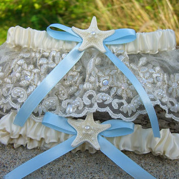Beach Wedding Starfish Garter Set-SOMETHING BABY BLUE-Beach Coastal Weddings, Destination Weddings, Mermaids, Aqua Turquoise Blue