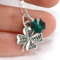 Shamrock Necklace Clover Charm Swarovski Crystal St by CCARIA