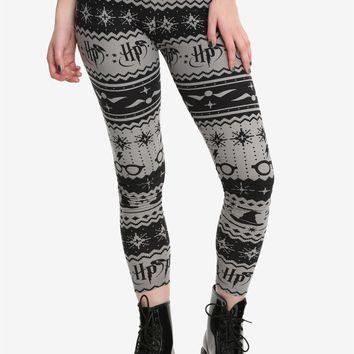 Licensed cool Harry Potter Leggings Fair Isle Sorting Hat Snitch Glasses Yoga Stretch Pants