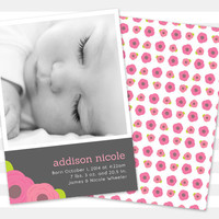 Baby Girl Birth Announcement, Flower Baby Announcement, Double sided Photo Card - Addison