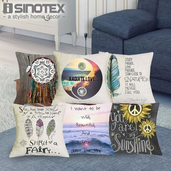 1 Pcs 43*43cm Hippy Style Cushions Linen Cushion Cover Color Pillow For Living Room Bed Room