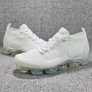 2018 Nike Air VaporMax Flyknit 2.0 Triple White 942842-100 Sport Running Shoes - Best Online Sale