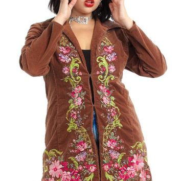 Vintage Y2K Lizzie Floral Corduroy Jacket - One Size Fits Many
