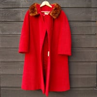 Vintage Hudson Bay Coat, 1950's Red Angora + Wool Coat with Fur Collar, Jackie Kennedy Style 50's Coat, Oversized 60s Mod Long Coat, Med Lrg