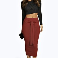 Iyana Belted Ribbed Midaxi Skirt