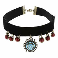 Black Velvet Drop Choker - Black