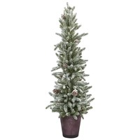 Artificial Tree -Snowy Mini Pine Christmas Tree With Glass Vase