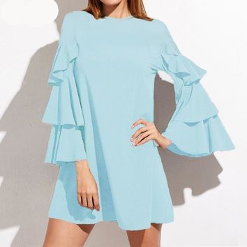 2017 Stylish Trendy Embroidered sheer Neckline or solid neckline, Ruffled,  butterfly, Bell sleeve, Blouse, Ladies shirt, Ladies Tops.  Comes in Blue, Pink, Navajo White and black Sizes S-XXXL