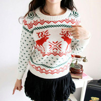 Round-neck Pullover Winter Knit Tops Christmas Sweater [9456549828]