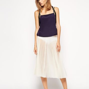 ASOS WHITE Organza Midi Pleat Skirt