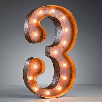 "24"" Number 3 (Three) Sign Vintage Marquee Lights"