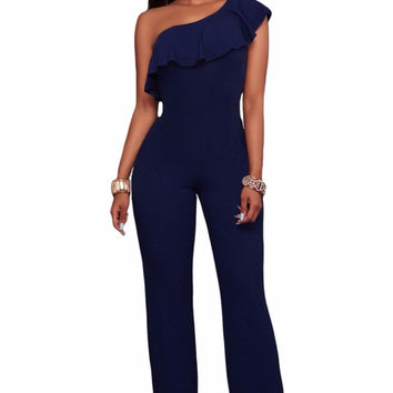 Womens Jumpsuit Sexy Cowl Neck Loose Fitted Harem Jumpsuit Navy Blue One Shoulder Ruffle Jumpsuit Macacao Feminino  LC64264