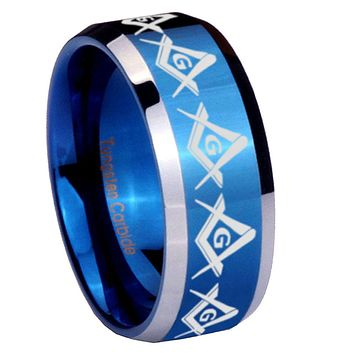 8mm Masonic Square and Compass Beveled Edges Blue 2 Tone Tungsten Mens Ring Engraved