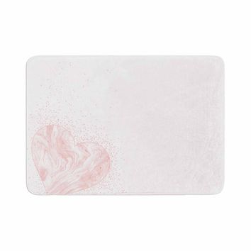 "NL Designs ""Pink Marble Heart"" Pink White Digital Memory Foam Bath Mat"