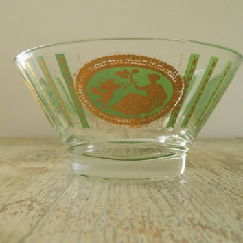 Vintage Green and Gold Mid Century Small Serving Bowl | Cupid Pattern Glass Chip and Dip Replacement