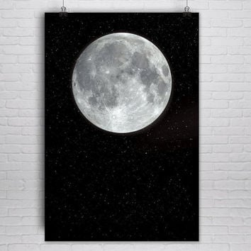 Large Moon Print, Moon Poster, Moon Art Print, Full Moon, Art Print, NASA, Celestial Print, Celestial Poster, Planet Poster, Wall Art, Star