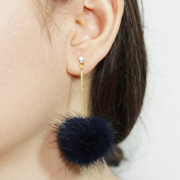 SALE 10% OFF, Pom Pom Earrings, Mink Fur Pom Pom Earrings, Fur ball Earrings, Korean fur earrings, Pink earrings, white earrings