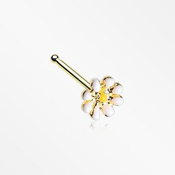 Golden Dainty Adorable Daisy Nose Stud Ring
