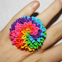 Rainbow Rolled Petal Duct Tape Ring