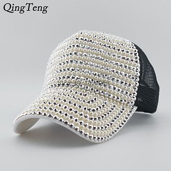 Luxury Diamond Rhinestone Baseball Cap Women Summer Girl With Mesh Snapback Hat Casual Sun Design Cap Pearl Gorras Mujer Vogue