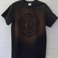 Peace Sign T Shirt Made to Order, Acid Wash Bleach Tie Dye Black Brown Cosmic Galaxy All Sizes S M L XL 2XL
