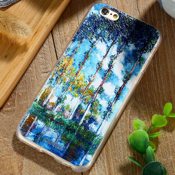 Fashion Selief Art Printed Pattern Phone Case  For iPhone 7 7 Plus 6 6s Plus Samsung Galaxy S6 S7 Edge Holiday Oil Painting Capa