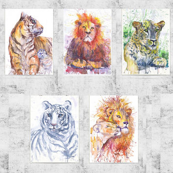 ACEO  Art Prints, wild animals, watercolor, ATC, Artist Trading Cards, Giclee, Set of 5 Signed, collectible card, predatory cats