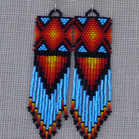 Native American Beaded Earrings Inspired. Multicolor Long Earrings. Beadwork