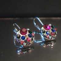 eBlueJay: Colorful Rhinestone Disc Leverback Earrings Gunmetal Finish Multi Color Costume Jewelry