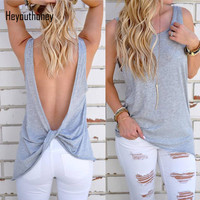 Heyouthoney 2017 New Summer Women Sexy Backless Top Tee Shirts Casual Open Back O Neck Loose Sleeveless Plus Size T-shirt Mujer