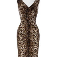 Women Retro Vintage Sleeveless V-Neck Leopard Femme Sexy Hollowed Back Cotton New Arrival Party Dresses Vestidos Bodycon Dress