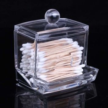 New Creative Clear Acrylic Storage Holder Box Transparent Cotton Swabs Stick Cosmetic Makeup Organizer Case High Quality