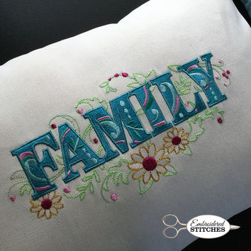 Embroidered Pillow Cover - Family