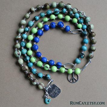 "Long Açaí Seeds Necklace -  blue, aqua, turquoise, green - mermaid, ""dreaming of the sea"" mermaid charms."