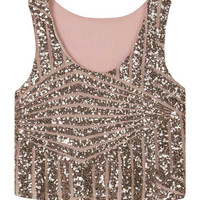 Pink Stripe Sequins Sleeveless Loose Vest