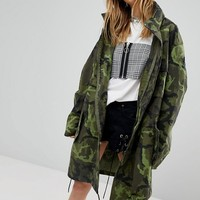 Milk It Vintage Military Coat With Concealed Hood at asos.com