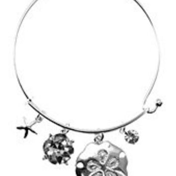 Womens Jewelry, Flower, Silver Tone Metal Hook Bangle w/ Assorted Accents Crystal Accent Rhinestone Accent Flower Silver Tone Metal Hook Bangle Assorted Accents - Materials: Metal - Length: Diamter: 2.5 Inch