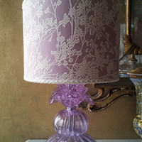 Authentic Italian Murano Alexandrite Hand Blown Glass Table Lamp with Lilac Rubelli Fabric Lamp Shade - Made in Venice